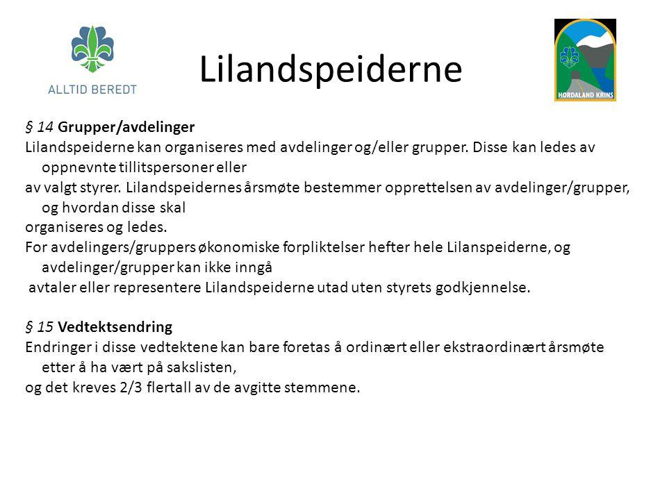 Lilandspeiderne § 14 Grupper/avdelinger