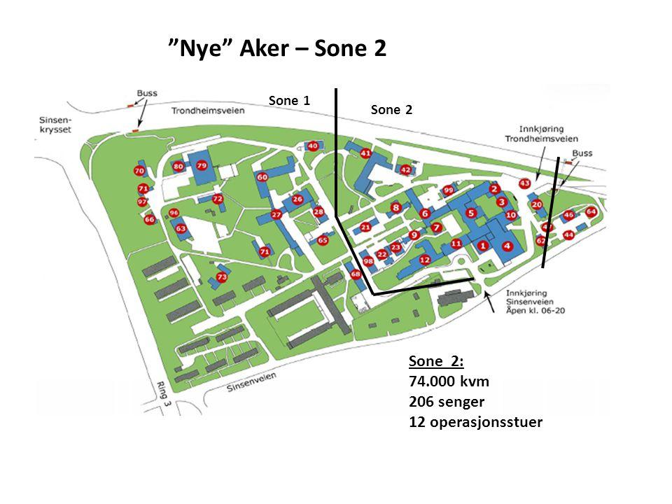 Nye Aker – Sone 2 Sone 2: 74.000 kvm 206 senger 12 operasjonsstuer