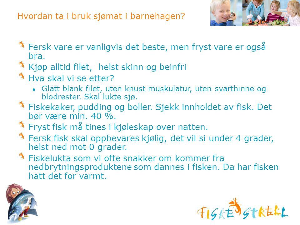 Hvordan ta i bruk sjømat i barnehagen