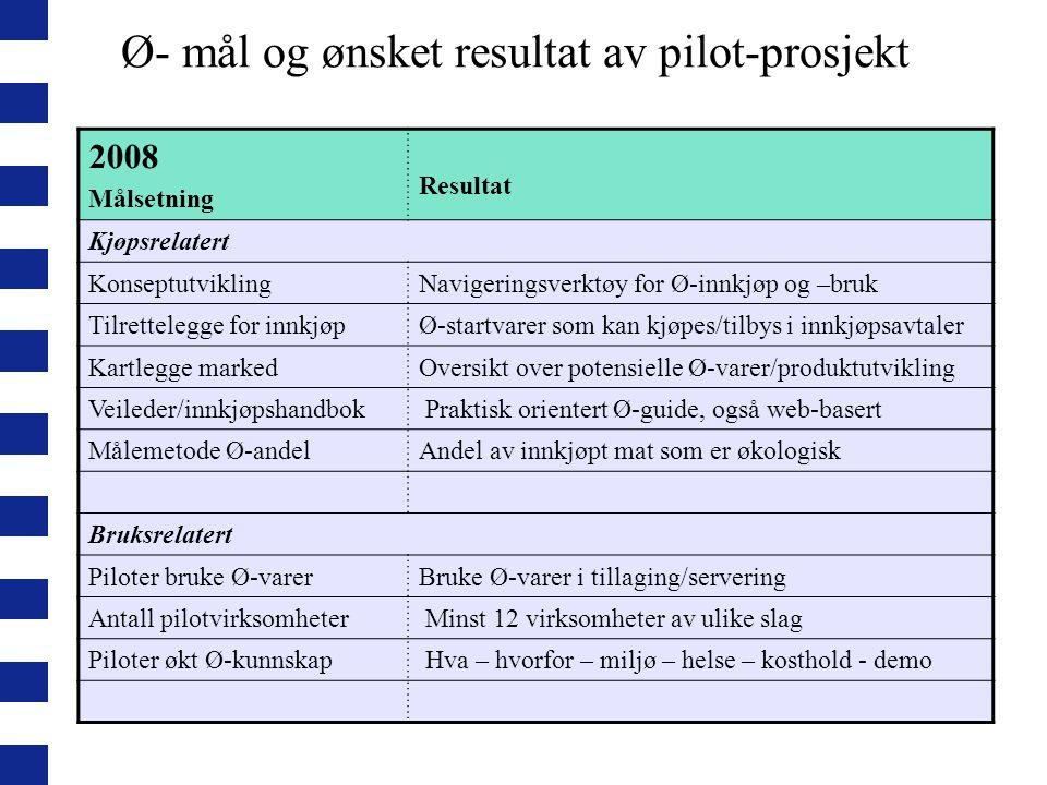Ø- mål og ønsket resultat av pilot-prosjekt