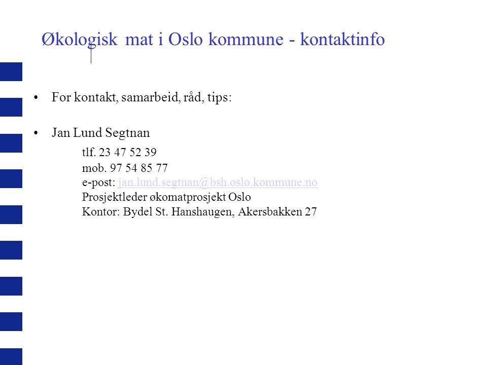 Økologisk mat i Oslo kommune - kontaktinfo