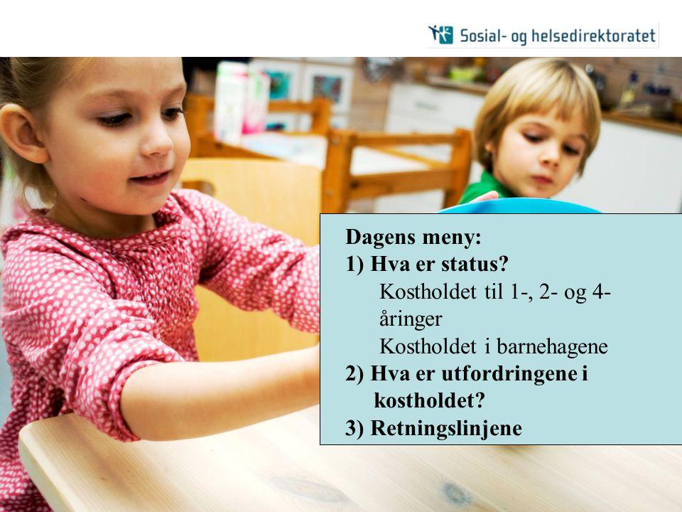 Kostholdet til 1-, 2- og 4-åringer Kostholdet i barnehagene