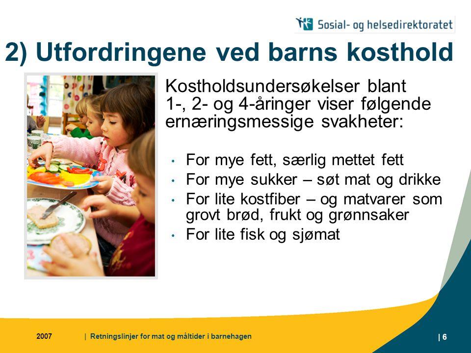 2) Utfordringene ved barns kosthold