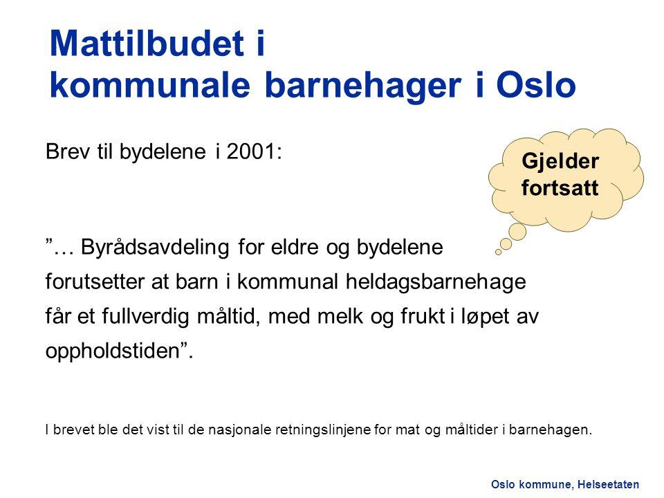 Mattilbudet i kommunale barnehager i Oslo