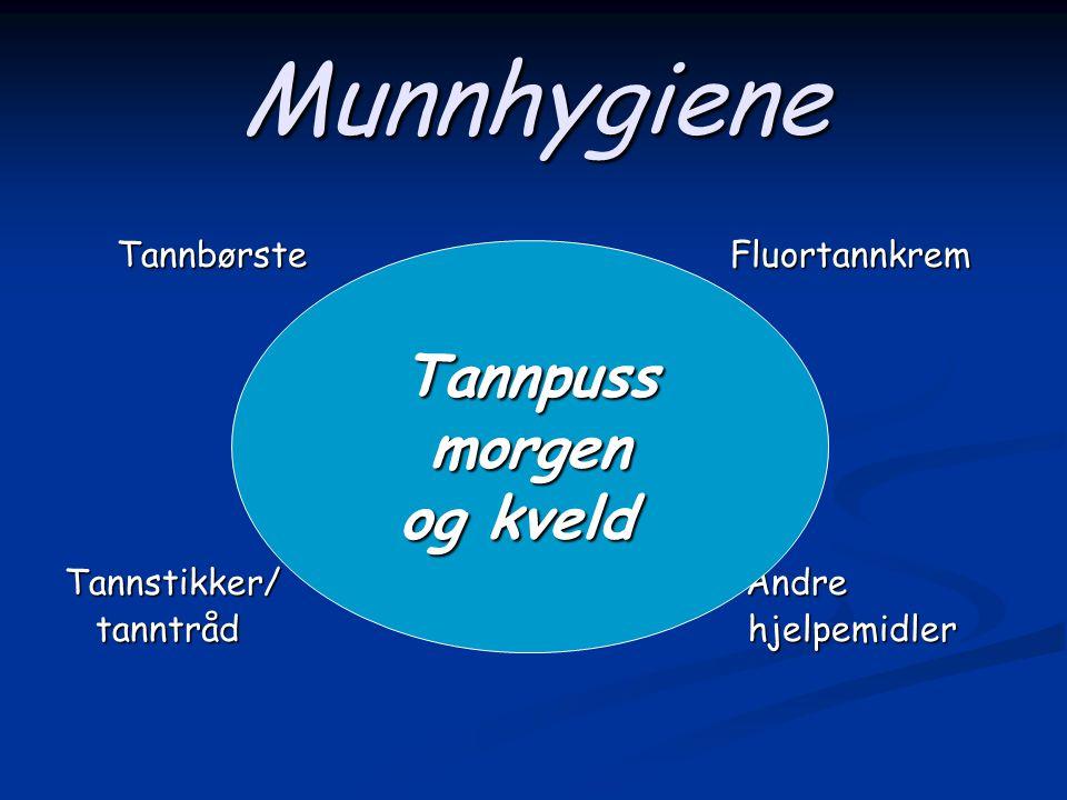 Munnhygiene Tannpuss morgen og kveld Tannbørste Fluortannkrem