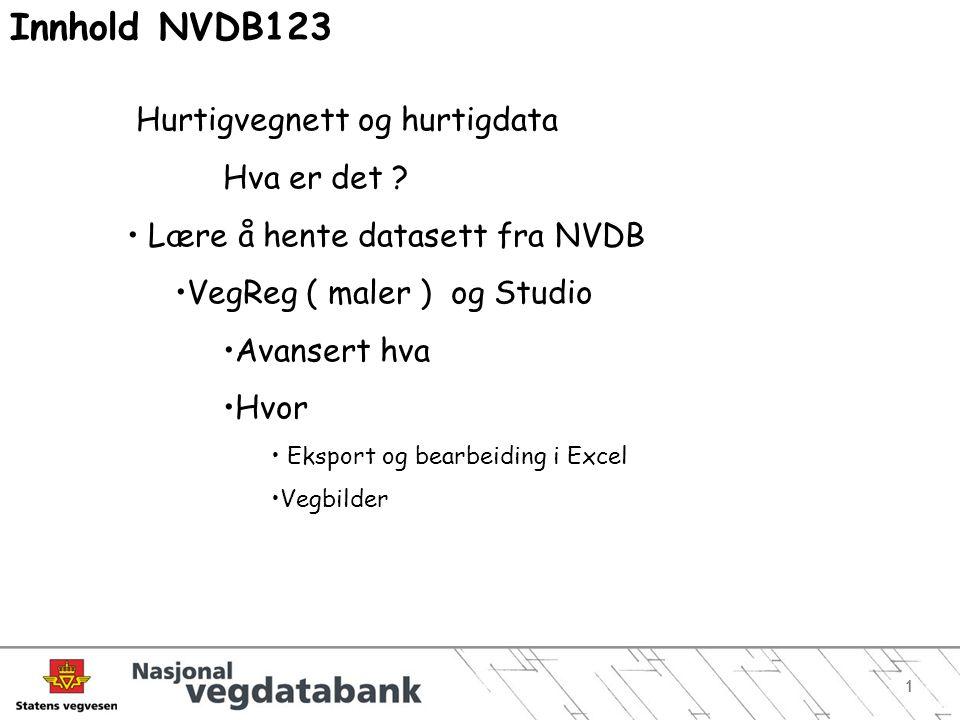 Innhold NVDB123 Hurtigvegnett og hurtigdata Hva er det