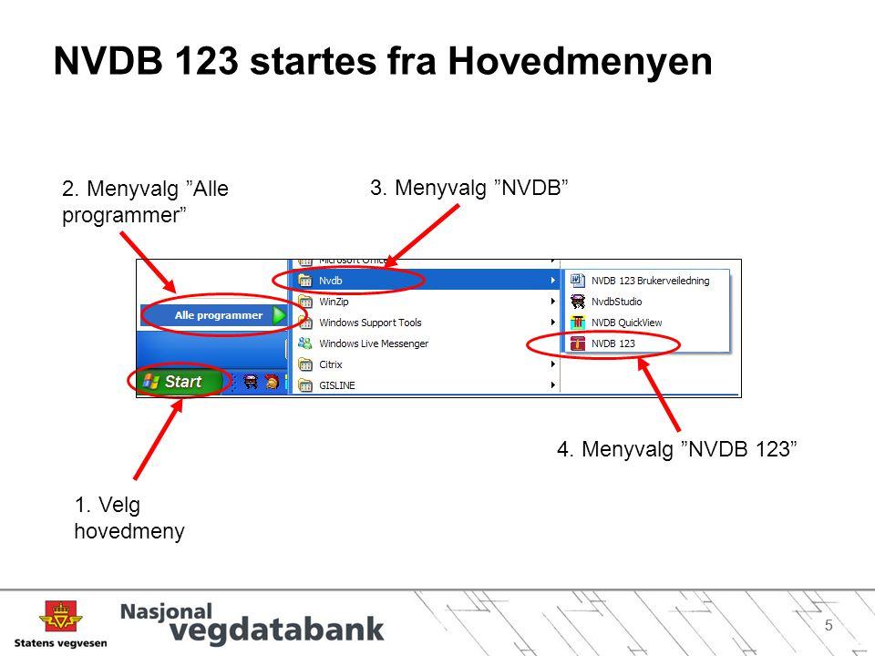 NVDB 123 startes fra Hovedmenyen