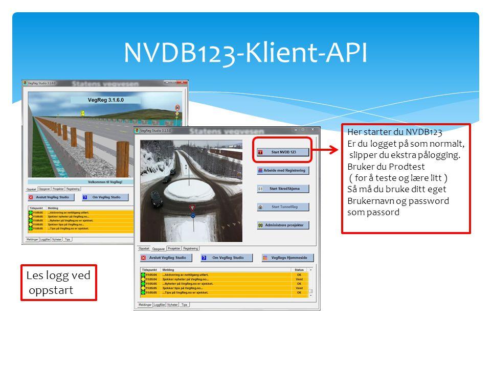 NVDB123-Klient-API Les logg ved oppstart Her starter du NVDB123