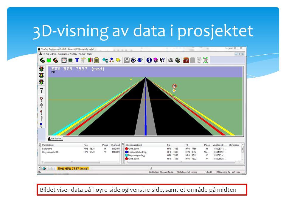 3D-visning av data i prosjektet