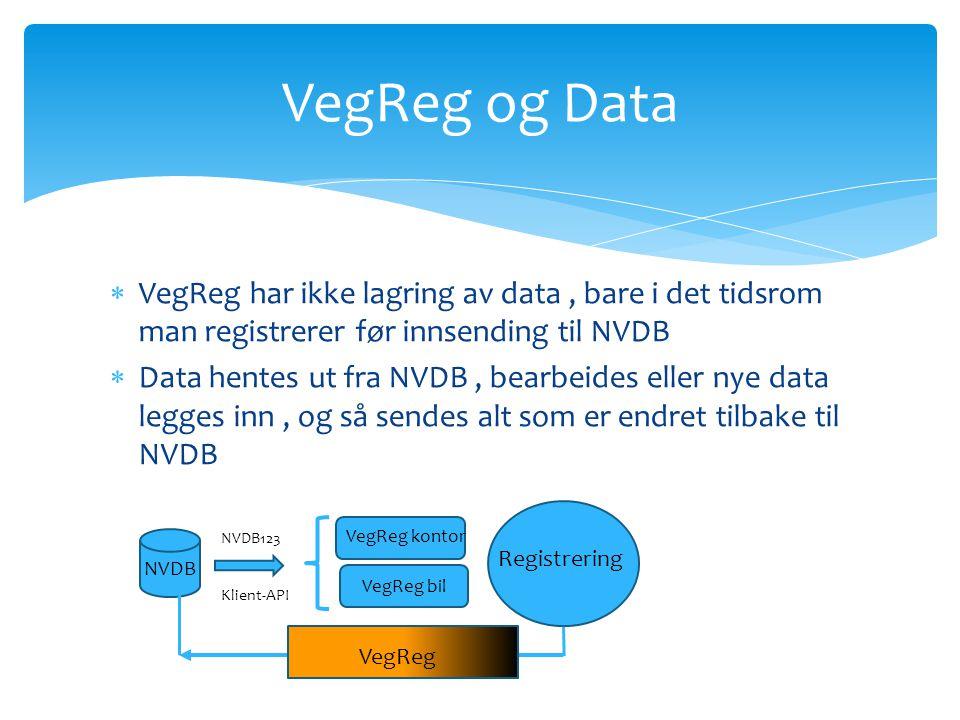 VegReg og Data VegReg har ikke lagring av data , bare i det tidsrom man registrerer før innsending til NVDB.
