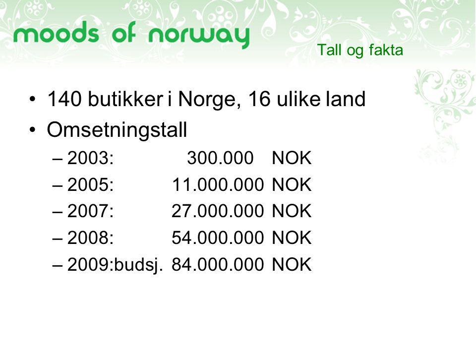 140 butikker i Norge, 16 ulike land Omsetningstall