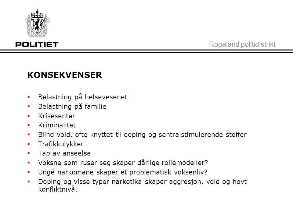 KONSEKVENSER Rogaland politidistrikt Belastning på helsevesenet