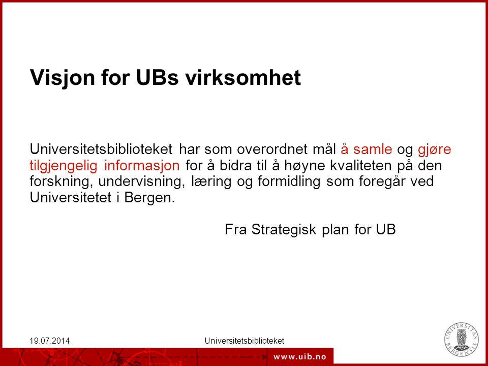Visjon for UBs virksomhet