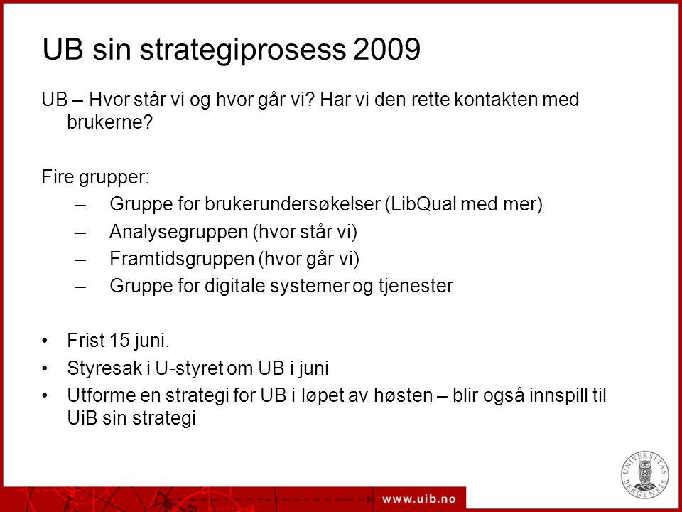 UB sin strategiprosess 2009