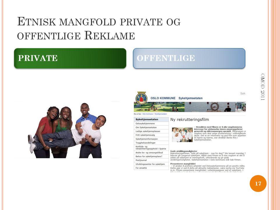 Etnisk mangfold private og offentlige Reklame