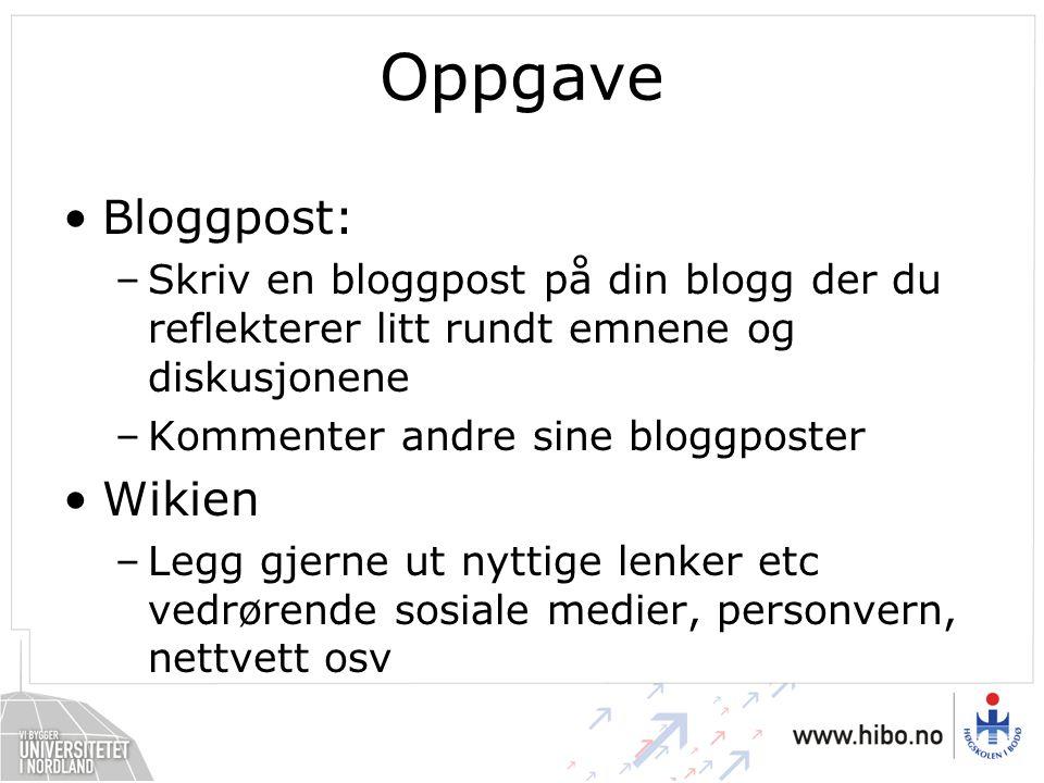 Oppgave Bloggpost: Wikien
