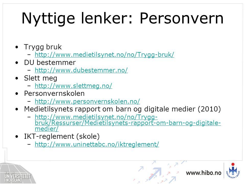 Nyttige lenker: Personvern