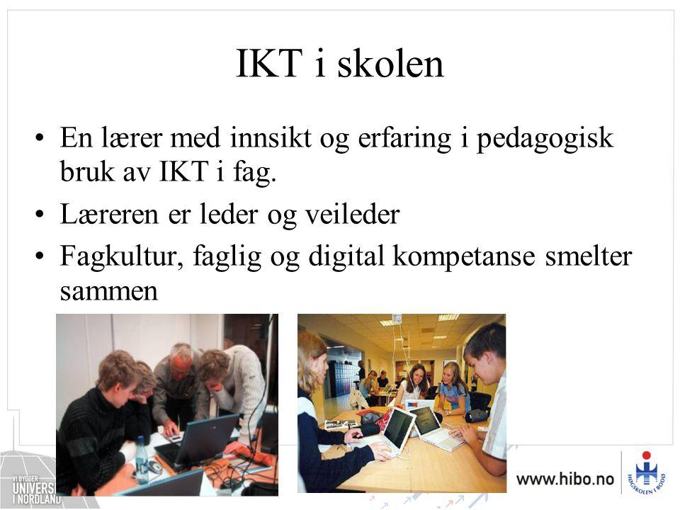 IKT i skolen En lærer med innsikt og erfaring i pedagogisk bruk av IKT i fag. Læreren er leder og veileder.