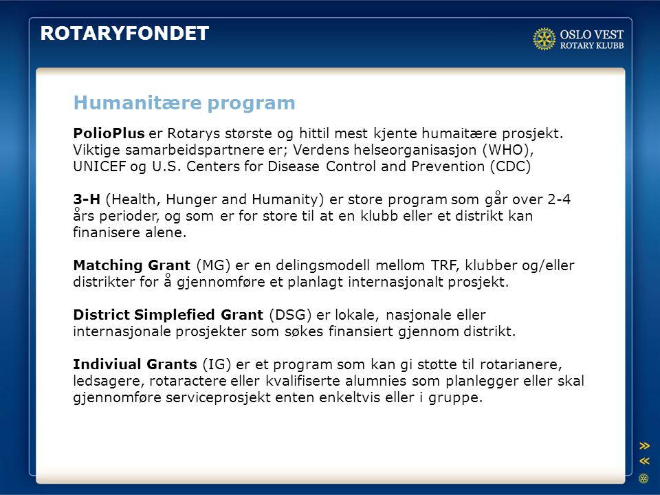 ROTARYFONDET Humanitære program
