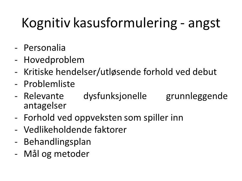 Kognitiv kasusformulering - angst