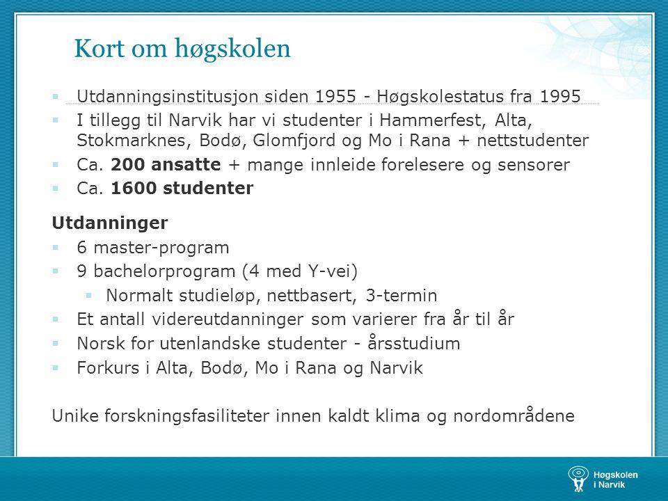 Kort om høgskolen Utdanningsinstitusjon siden 1955 - Høgskolestatus fra 1995.