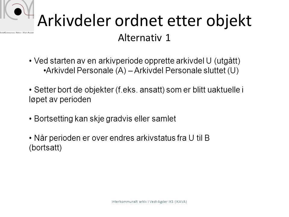 Arkivdeler ordnet etter objekt Alternativ 1