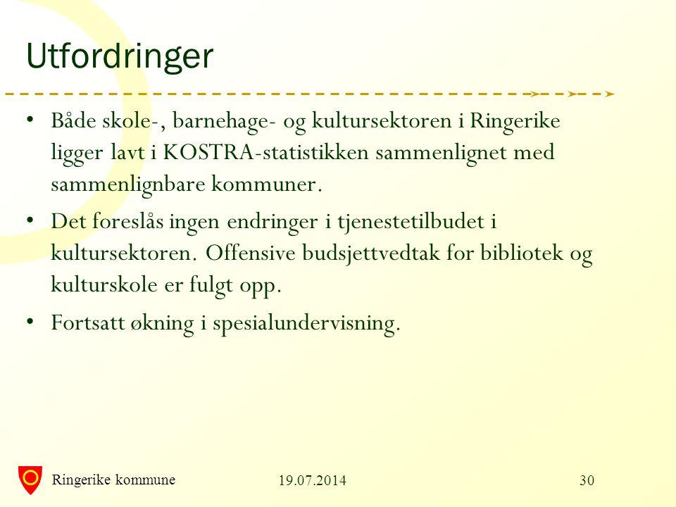 Utfordringer Både skole-, barnehage- og kultursektoren i Ringerike ligger lavt i KOSTRA-statistikken sammenlignet med sammenlignbare kommuner.