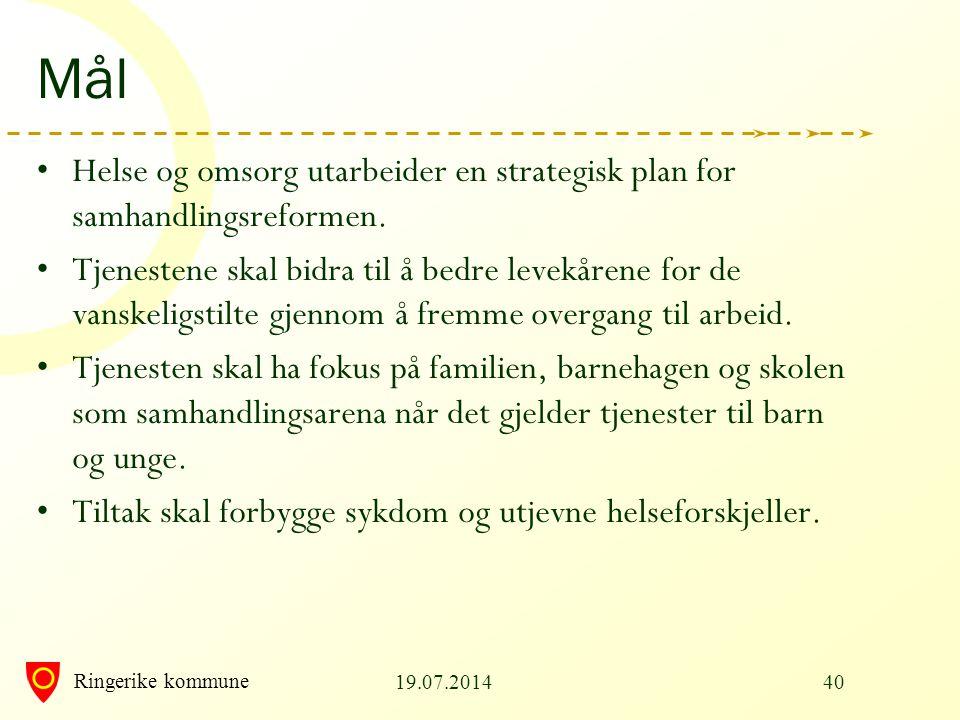 Mål Helse og omsorg utarbeider en strategisk plan for samhandlingsreformen.