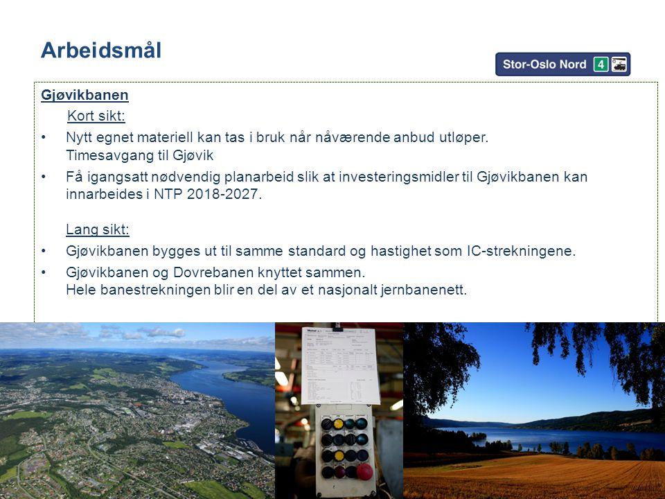 Arbeidsmål Gjøvikbanen Kort sikt: