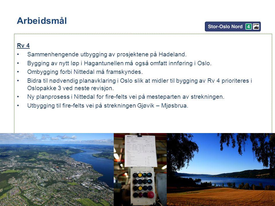 Arbeidsmål Sammenhengende utbygging av prosjektene på Hadeland.