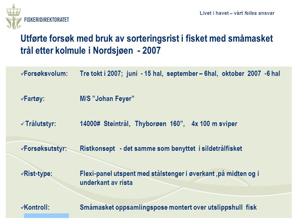Utførte forsøk med bruk av sorteringsrist i fisket med småmasket trål etter kolmule i Nordsjøen - 2007