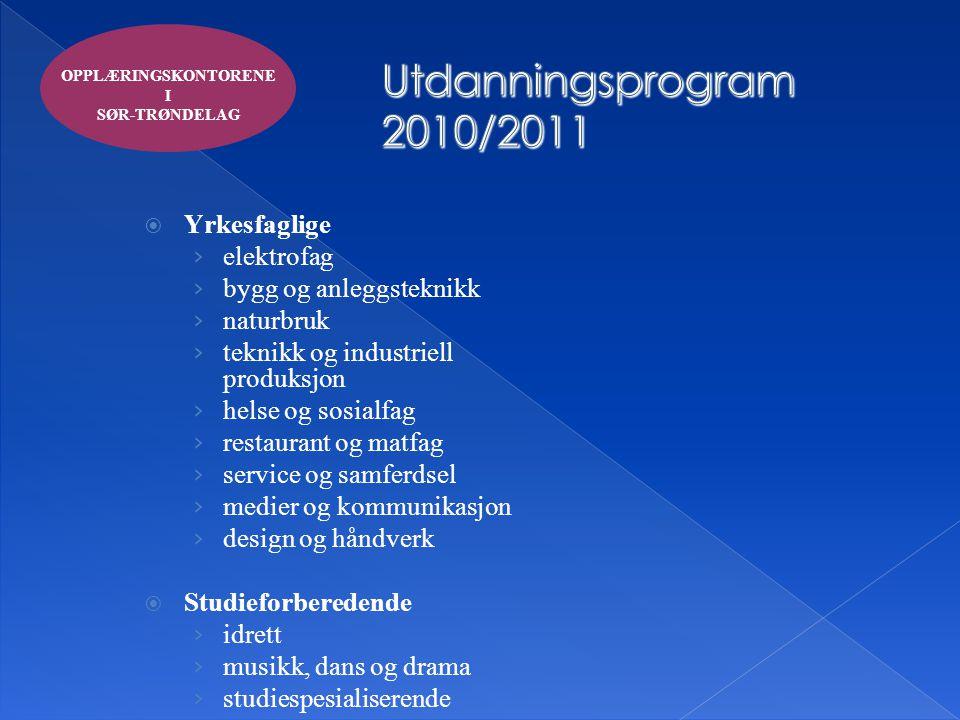 Utdanningsprogram 2010/2011 Yrkesfaglige elektrofag