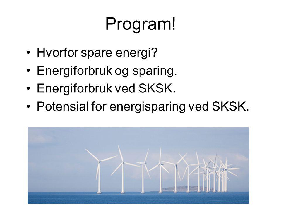 Program! Hvorfor spare energi Energiforbruk og sparing.