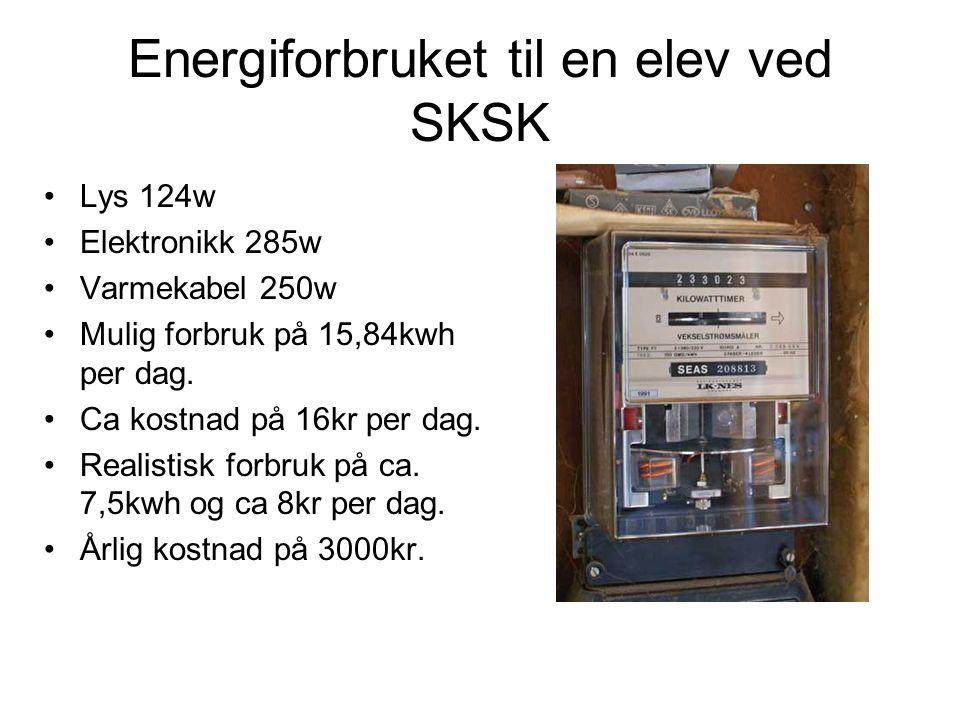 Energiforbruket til en elev ved SKSK