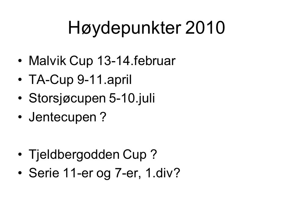 Høydepunkter 2010 Malvik Cup 13-14.februar TA-Cup 9-11.april