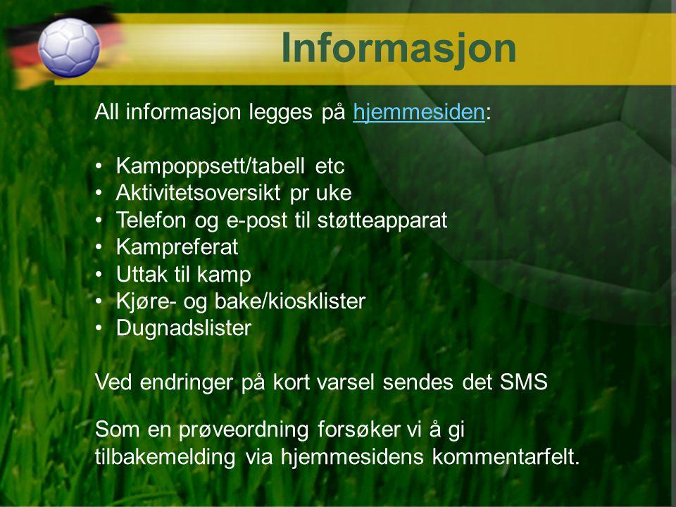 Informasjon All informasjon legges på hjemmesiden:
