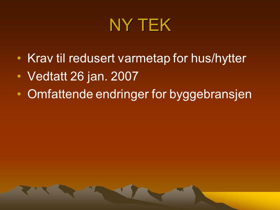 NY TEK Krav til redusert varmetap for hus/hytter Vedtatt 26 jan. 2007