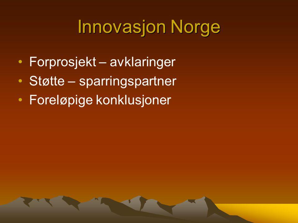 Innovasjon Norge Forprosjekt – avklaringer Støtte – sparringspartner