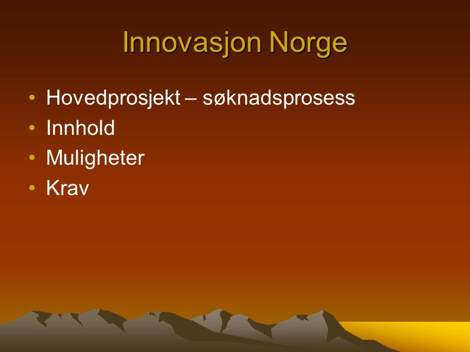 Innovasjon Norge Hovedprosjekt – søknadsprosess Innhold Muligheter
