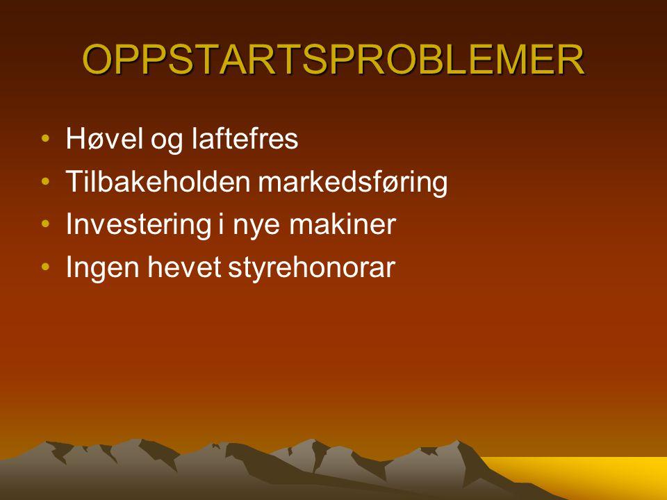 OPPSTARTSPROBLEMER Høvel og laftefres Tilbakeholden markedsføring