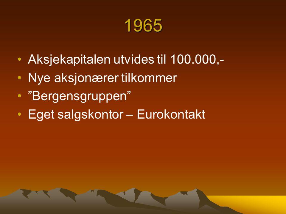 1965 Aksjekapitalen utvides til 100.000,- Nye aksjonærer tilkommer