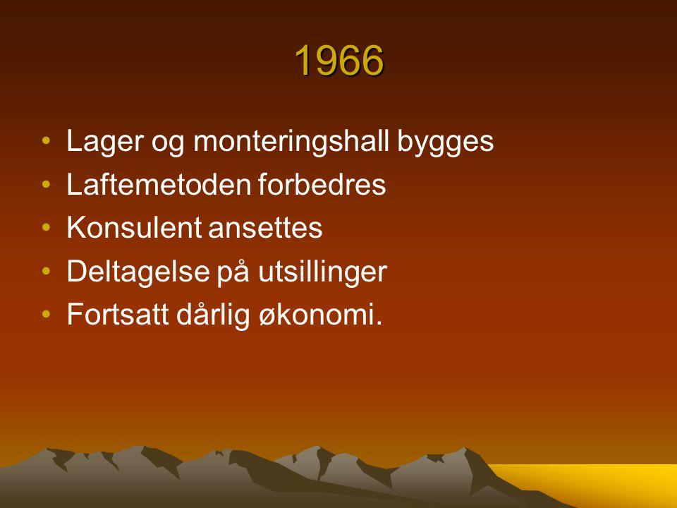 1966 Lager og monteringshall bygges Laftemetoden forbedres
