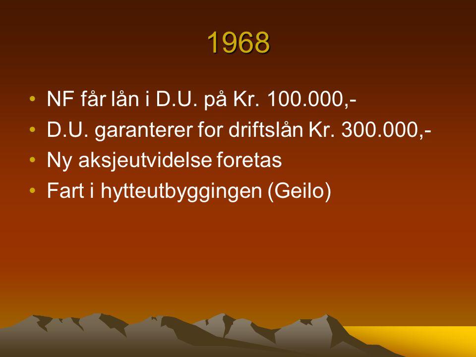 1968 NF får lån i D.U. på Kr. 100.000,- D.U. garanterer for driftslån Kr. 300.000,- Ny aksjeutvidelse foretas.