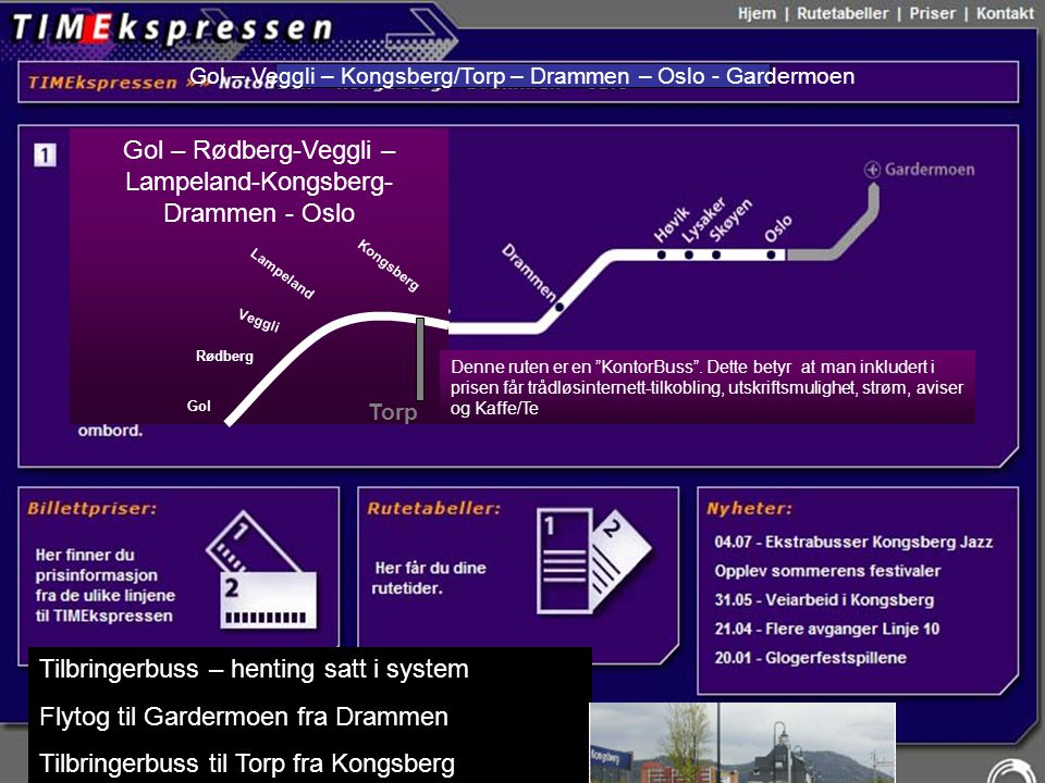 Gol – Rødberg-Veggli – Lampeland-Kongsberg-Drammen - Oslo