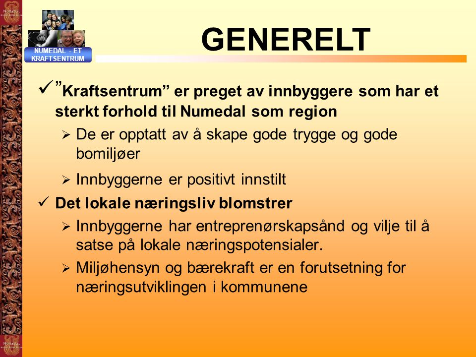 NUMEDAL - ET KRAFTSENTRUM. GENERELT. Kraftsentrum er preget av innbyggere som har et sterkt forhold til Numedal som region.