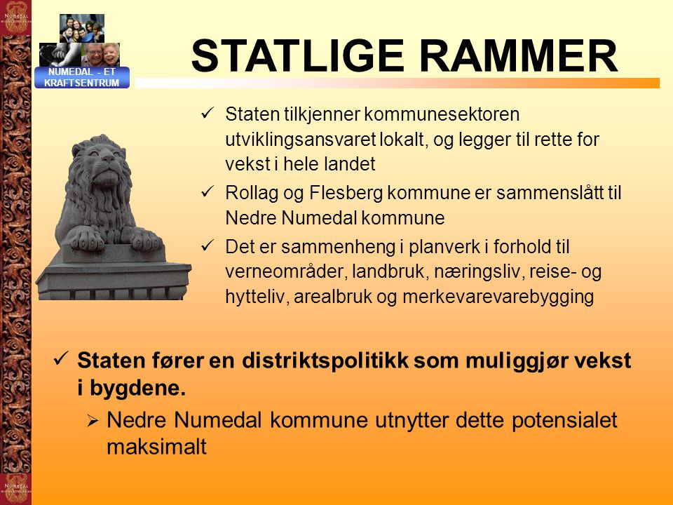 NUMEDAL - ET KRAFTSENTRUM. STATLIGE RAMMER.