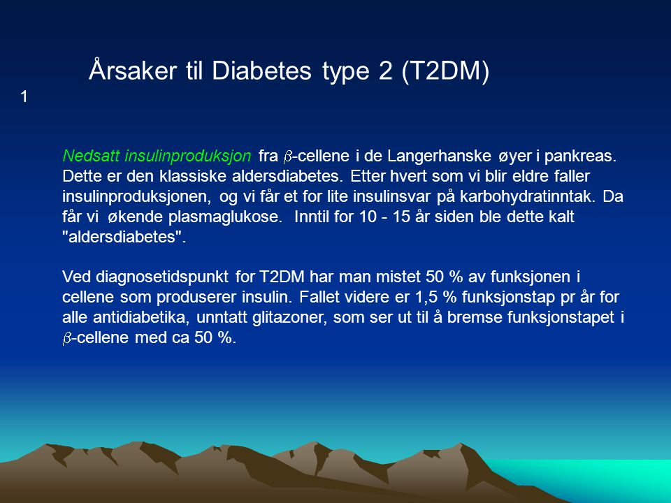 Årsaker til Diabetes type 2 (T2DM)