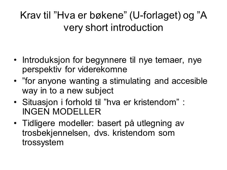 Krav til Hva er bøkene (U-forlaget) og A very short introduction