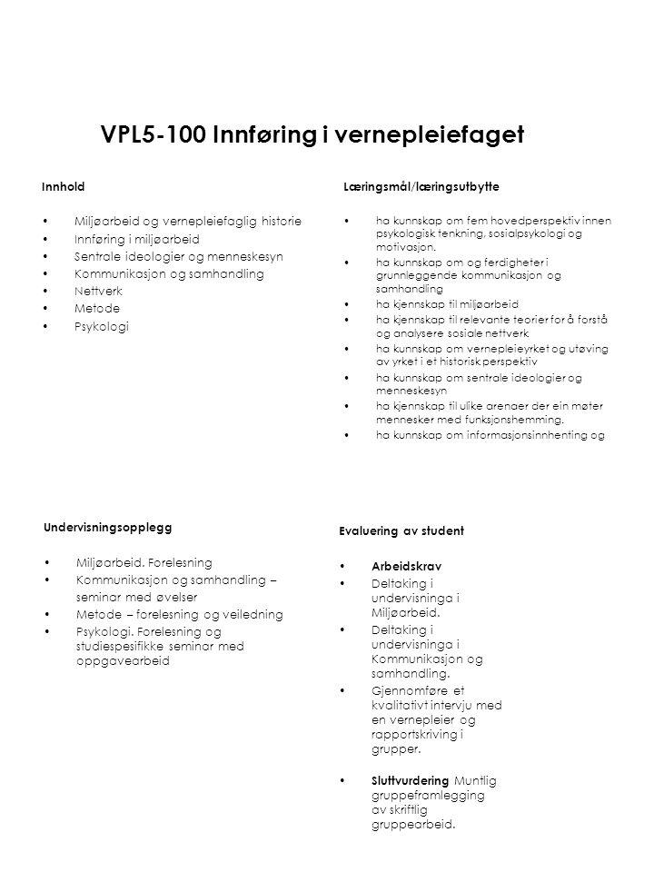 VPL5-100 Innføring i vernepleiefaget
