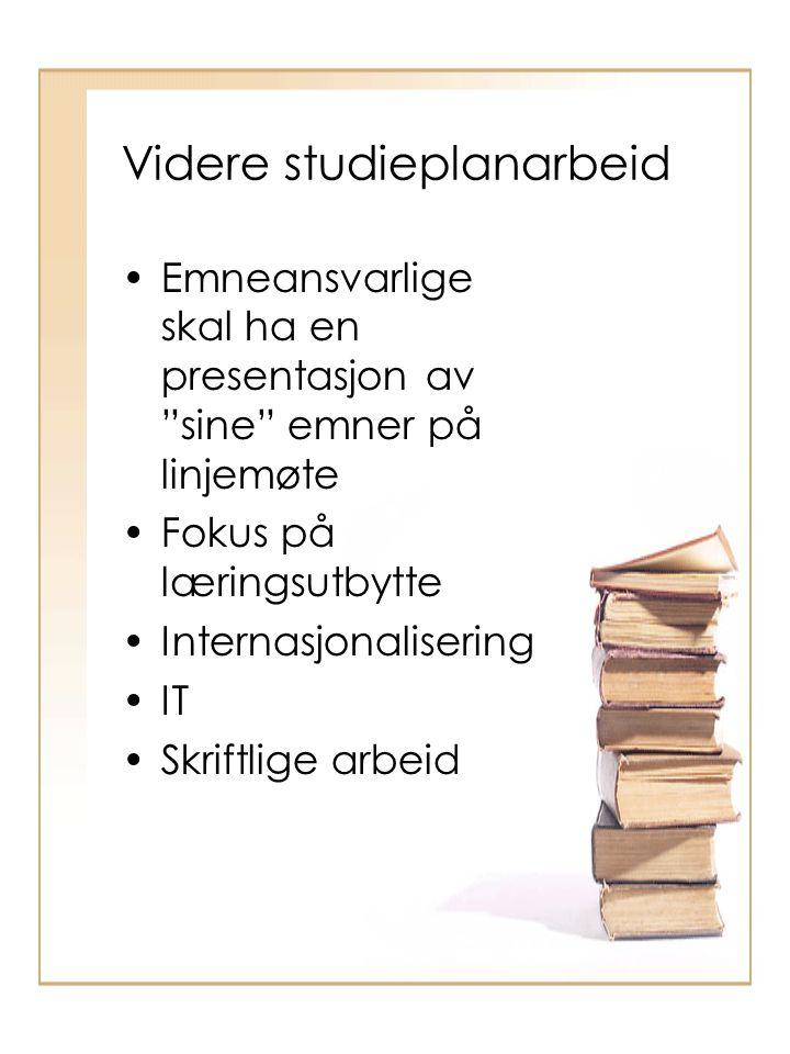 Videre studieplanarbeid